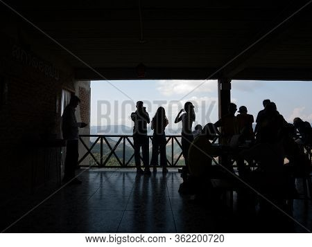 Nan, Thailand, December, 30, 2019: People Silhouette In Sakad Dee Home Stay Coffee Shop Famous Favor