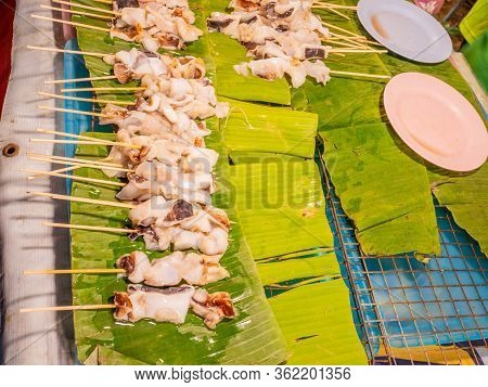 Squid Are Waiting To Be Grilled.raw Squid Sell In Thai Market.thai Sea Food Style.