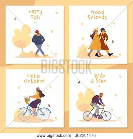 Happy Fall People Enjoy Outdoor Activities Card Set. Good Friends Meeting. Man Woman Riding Bike In