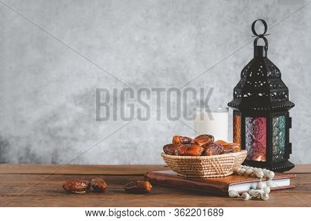 On Table Top Image Of Decorations Ramadan Kareem Holiday Background.close Up Arabic Lantern Metal Da