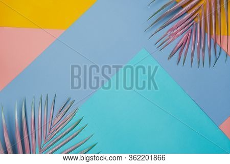 Table Top View Aerial Image Of Summer Season Holiday Background Concept.flat Lay Coconut Or Palm Col