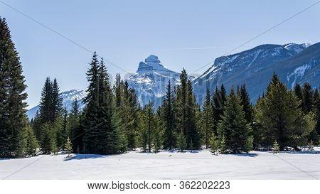 Winter Landscape Large Open Space In Snow Mountain Range Alberta Canada.