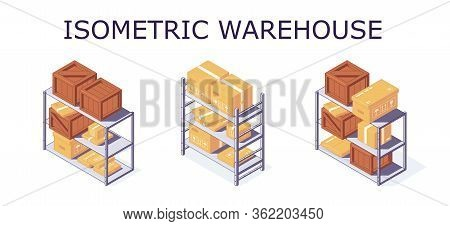Isometric Warehouse Boxes Pallet Shelf And Rack. 3d Box Pallet Shelving Racking Vector Illustration