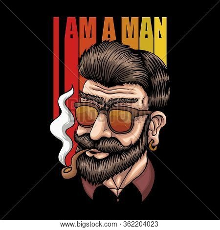 Man Smoke Retro Vector Illustration For Your Company Or Brand