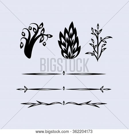 Variations Of Floral Silhouette Ornament Designs