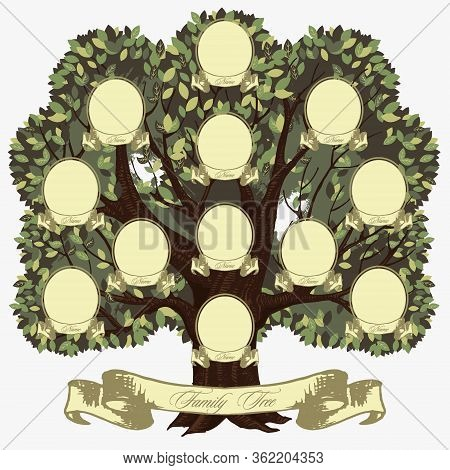 Cartoon Genealogical Family Tree With Lettering Inscription