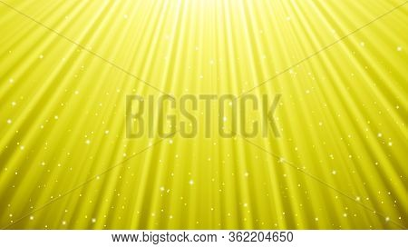Sunlight Rays Background With Light Effects. Yellow Backdrop With Light Of Radiance. Vector Illustra