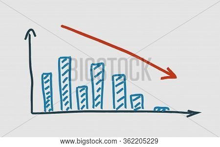 Illustration Of Handdrawing Colored Graph On White Background