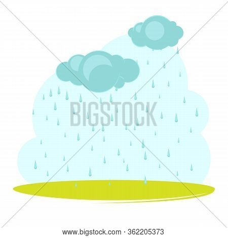 Fantasy Landscape With Clouds And Rain. Summer Day In Countryside. Rainy Day. Cute Cartoon Style. Ve