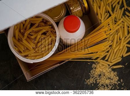Food Donation Box With Pasta For The Needy