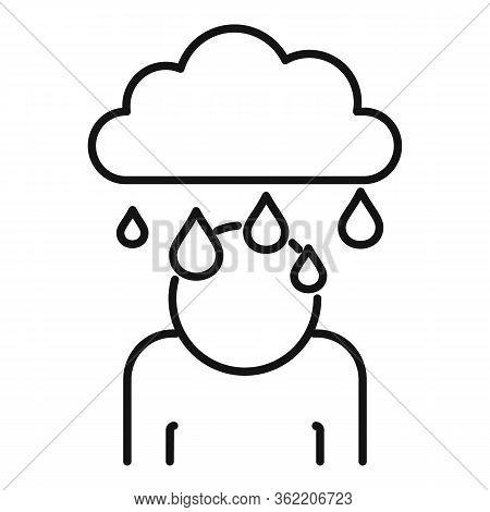Rainy Depression Icon. Outline Rainy Depression Vector Icon For Web Design Isolated On White Backgro