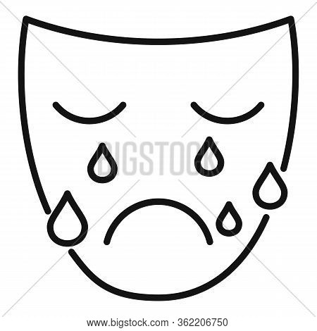 Crying Man Face Icon. Outline Crying Man Face Vector Icon For Web Design Isolated On White Backgroun