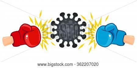 Vector Illustration Of A Coronavius Against Boxing Gloves. Vector Illustration Of Angry Coronavirus