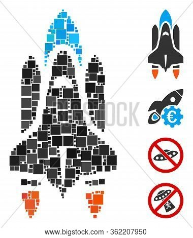 Mosaic Space Shuttle Icon United From Square Items In Random Sizes And Color Hues. Vector Square Ite