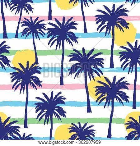 Vector Seamless Pattern With Hand Drawn Palm Trees On Grunge Colorful Strips Background. Summer Back