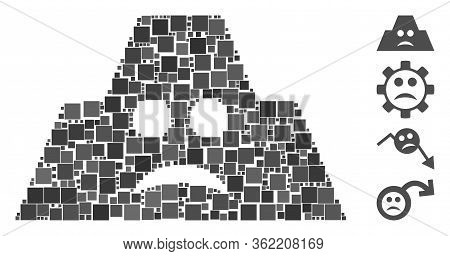 Collage Sad Fortification Icon Composed Of Square Items In Different Sizes And Color Hues. Vector Sq