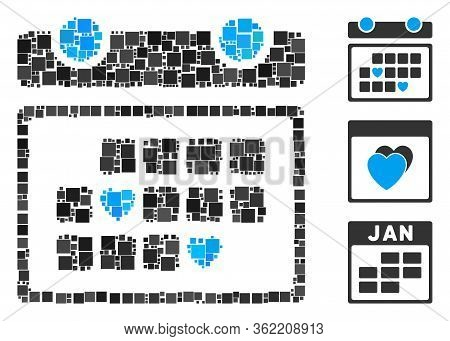 Collage Favourite Days Icon Organized From Square Items In Random Sizes And Color Hues. Vector Squar