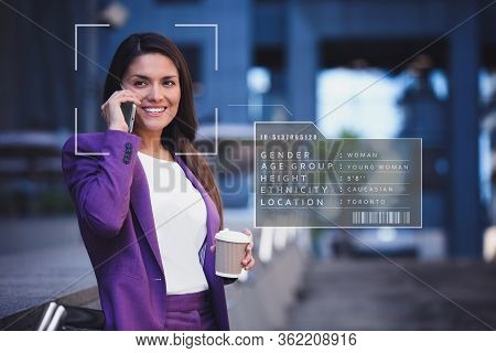 People Search By Facial Recognition. Woman Outdoors With Scanner Frame On Face And Her Private Infor