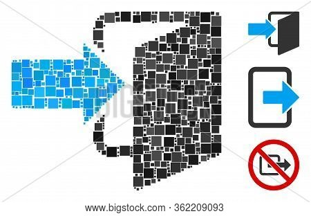 Mosaic Exit Door Icon Organized From Square Items In Variable Sizes And Color Hues. Vector Square It