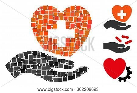 Collage Hand Offer Cardiology Icon Composed Of Square Elements In Variable Sizes And Color Hues. Vec