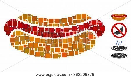 Mosaic Hotdog Icon Composed Of Square Items In Different Sizes And Color Hues. Vector Square Items A
