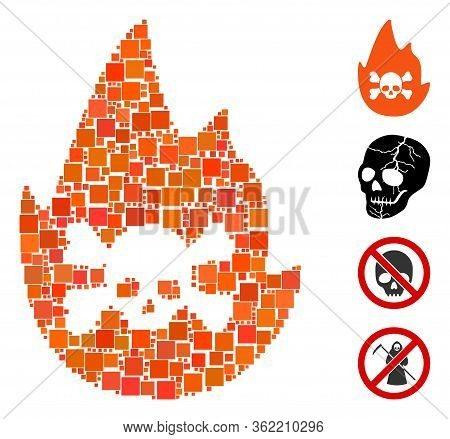 Mosaic Hellfire Icon Designed From Square Items In Random Sizes And Color Hues. Vector Square Items