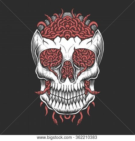 Skull Head Worm Vector Illustration For Your Company Or Brand