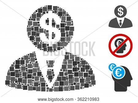 Collage Banker Icon Designed From Square Items In Different Sizes And Color Hues. Vector Square Item