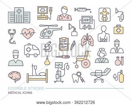 Set Of Medical On The Theme Of Diagnostics, Treatment, And Hospital. Linear Icons With Editable Stro
