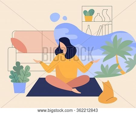 Woman Meditating At Home, Yoga Of Lady In Room Flat Illustration