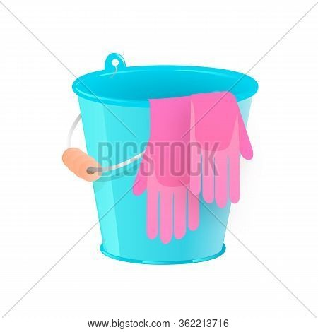 Plastic Blue Bucket With Rubber Gloves For Household Cleaning And Home Washing. Metalic Bucket, Pail