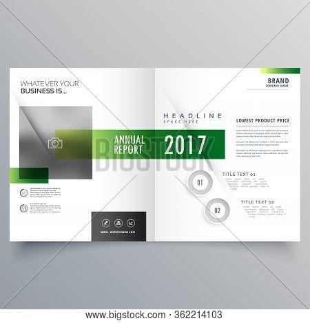 Elegant Green Bi Fold Brochure Or Magazine Cover Page Design Template