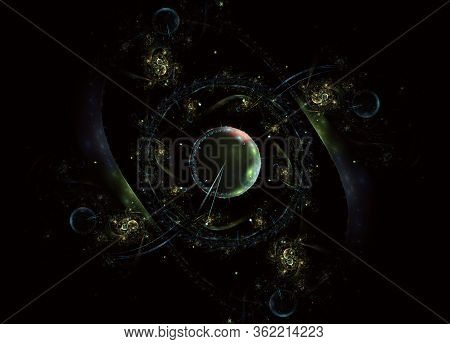Digital Artwork For Creative Graphic Design. Steampunk Themed Clockwork Watch, Time Machine, Digital