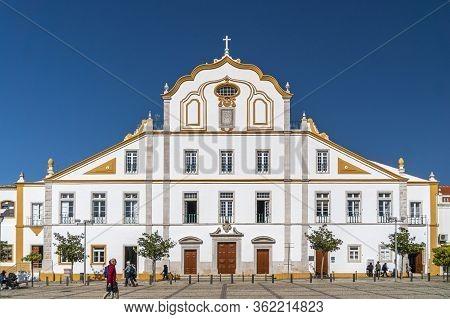 Portimao, Portugal, January 2020 - Facade Of The Jesuit College And Church In The City Of Portimao I