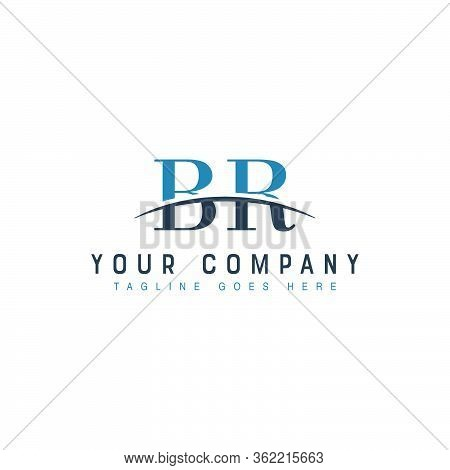 Initial Letter Br, Overlapping Movement Swoosh Horizon Logo Company Design Inspiration In Blue And G