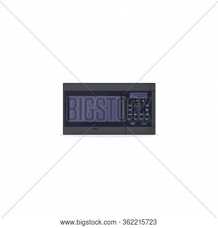 Microwave Oven On White Background. Black Modern Microwave With Knob Wheel, Buttons And Glass Door.