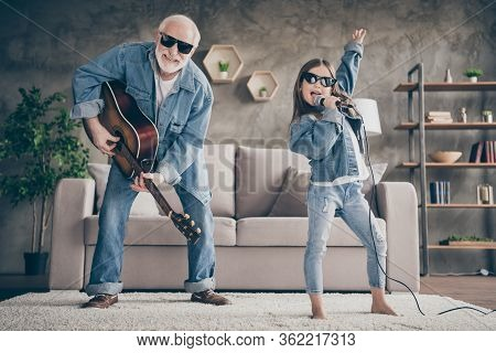 Photo Of Two People Funky Grandpa Play Guitar Small Nice Granddaughter Mic Singing Cool Style Sun Sp