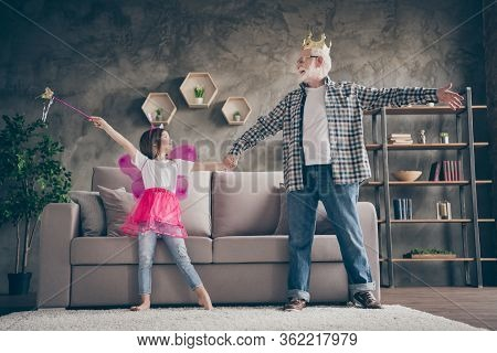 Full Length Photo Of Aged Old Grandpa Little Pretty Granddaughter Acting Fairy Costumes Good Mood Ho