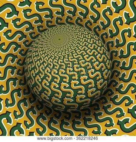 Optical Illusion Hypnotic Vector Illustration Of Dollar Sign Pattern. Patterned Green Golden Globe S