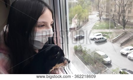 Brunette Teenager Girl In A White Medical Mask Stands At Window With A Small Black Dog Of The Toy Te