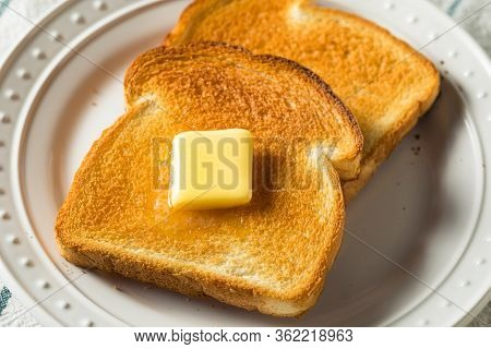Homemade Warm Buttered Toast For Breakfast