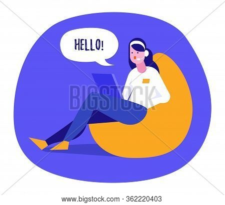 A Girl Communicating Online On The Internet Through A Laptop. Vector Illustration Of A Modern, Carto