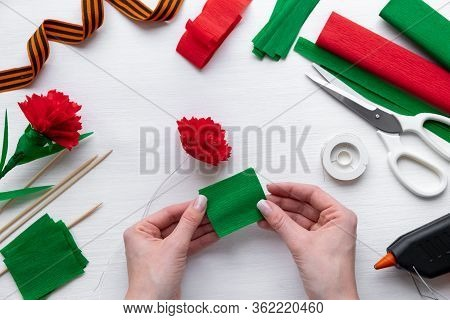 How To Make Carnation Flower At Home. Hands Making Red Carnation To Victory Day 9 May. Step By Step