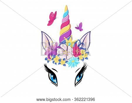 Magic Unicorn With Colorful Horn And Manes Icon, Decor For Girl Room Interior Or Birthday, Badge Or