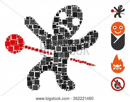 Collage Voodoo Doll Icon Organized From Square Elements In Different Sizes And Color Hues. Vector Sq