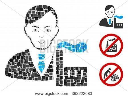 Mosaic Capitalist Oligarch Icon United From Square Elements In Different Sizes And Color Hues. Vecto