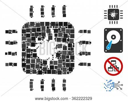 Collage Hardware Bug Icon United From Square Items In Random Sizes And Color Hues. Vector Square Ite