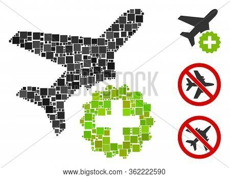 Mosaic Airplane Addition Icon Designed From Square Items In Different Sizes And Color Hues. Vector S