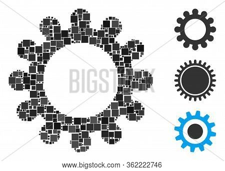 Collage Cog Icon Composed Of Square Items In Various Sizes And Color Hues. Vector Square Items Are G