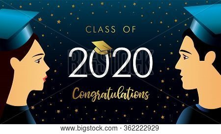 Class Of 2020 Congratulations, Students In Academic Hat. Vector Illustration With Girl, Guy And Grad